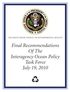 Cover page of the Final Recommendations of the Interagency Ocean Policy Task Force Task Force report to the President
