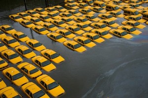 image of flooded taxis